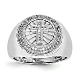 ICE CARATS 925 Sterling Silver Diamond Cross Religious Mens Band Ring All Size 11.00 Man Fine Jewelry Dad Mens Gift Set
