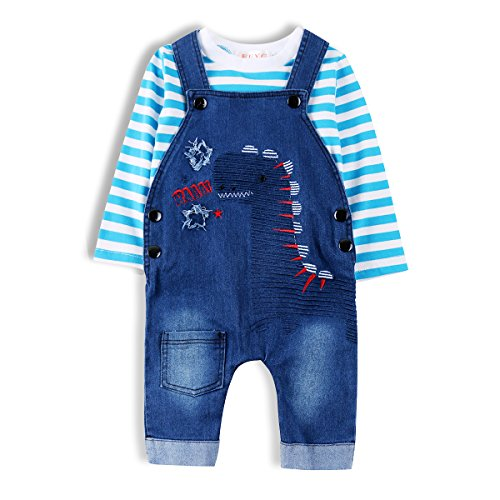Baby Boys Outfit, Toddler Dinosaur Jeans Romper Set with Suspenders & Navy Tee
