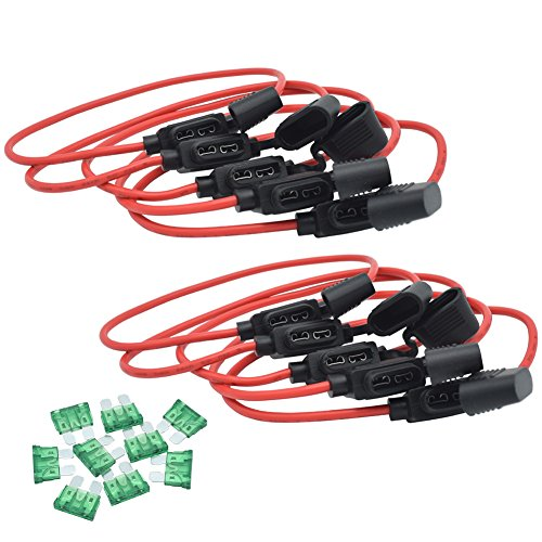 (JooFn Inline Fuse Holder 12AWG Wiring Harness ATC/ATO 30AMP Blade Fuse Automotive Fuse Holder with Waterproof Cover 10)