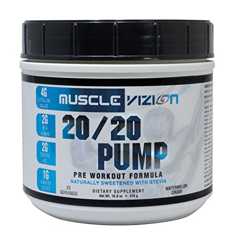 Muscle Vizion 20/20 PUMP Pre Workout, #1 ONE SCOOP- Extreme Nitric Oxide Boost/Cell Expansion/Energy Ignition/Laser Focus/Peak Muscular Endurance/No Crash/All Natural Flavors and Sweetners (ZERO Cal)