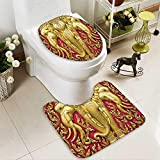 SOCOMIMI U-Shaped Toilet Mat Elephant Carved Gold Paint on Door Thai Temple Spirituality Statue Classic Image Magenta Washable Non-Slip