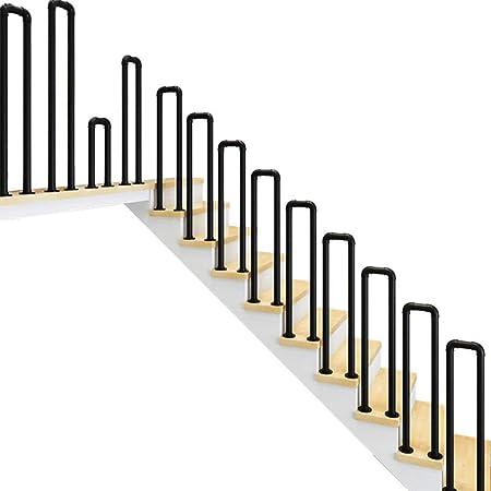 YJX Barandillas de Escalera de Hierro Forjado en Forma de U Negro Mate Interior y Exterior Barra Antideslizante para Villa Hotel Garden Tubo galvanizado Tamaño Completo del Kit Opcional: Amazon.es: Hogar