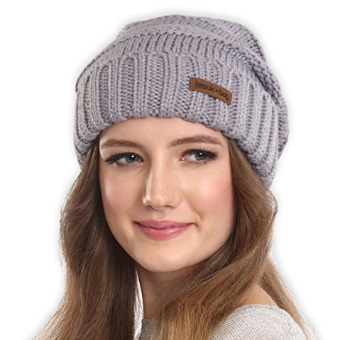 Slouchy Cable Knit Cuff Beanie by Brook + Bay - Stay Warm & Stylish this Winter - Chunky, Oversized Slouch Beanie Hats for Women & Men - Serious Beanies for Serious Style