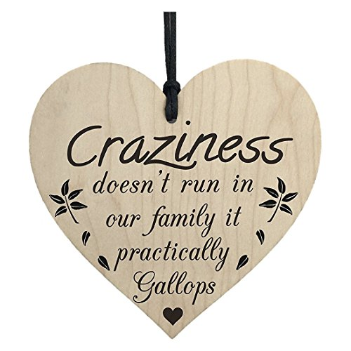 Plaques Signs - Craziness Gallops In Our Family Wooden Hanging Heart Novelty Families Plaque - Plaque Halloween Galloper Tag Modern Gift Love Mother Outfit Wedding -