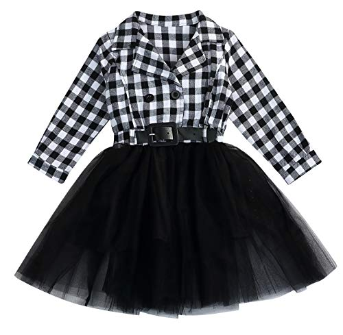 Little Kids Baby Girl Dresses White and Black Plaid Tutu Skirt Party Princess Formal Outfit