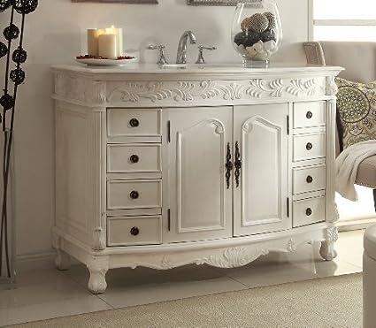 "48"" Antique White Enhancing, Sumptuous Details, Florence bathroom sink  vanity - Q036W- - 48"