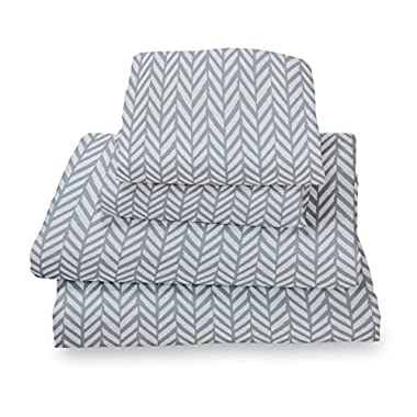 Queen Sheet Set Gray Herringbone - Double Brushed Ultra Microfiber Luxury Bedding Set By Where the Polka Dots Roam