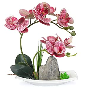 Yobansa Orchid Bonsai Artificial Flowers with Imitation Porcelain Flower Pots Phalaenopsis Fake Flowers Arrangements for Home Decoration 9