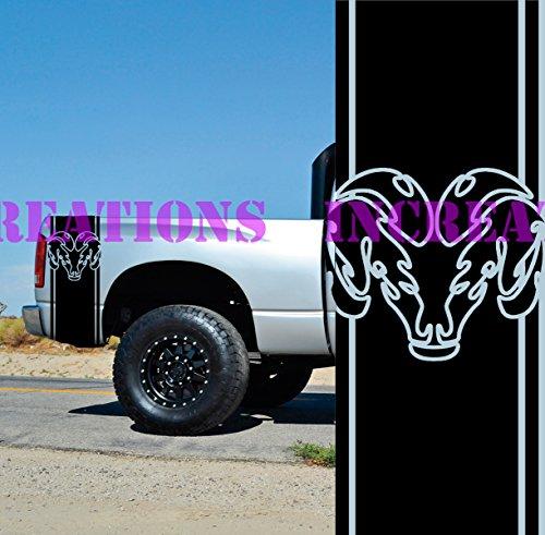 Hemi Dodge Ram Rear Bed Stripes Truck Decals Mopar Stickers Set of 2 Racing (Black)