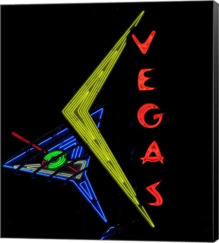Historic Vegas neon Sign, Freemont Street, Las Vegas Canvas Art Wall Picture, Museum Wrapped with Black Sides, 16 x 18 inches