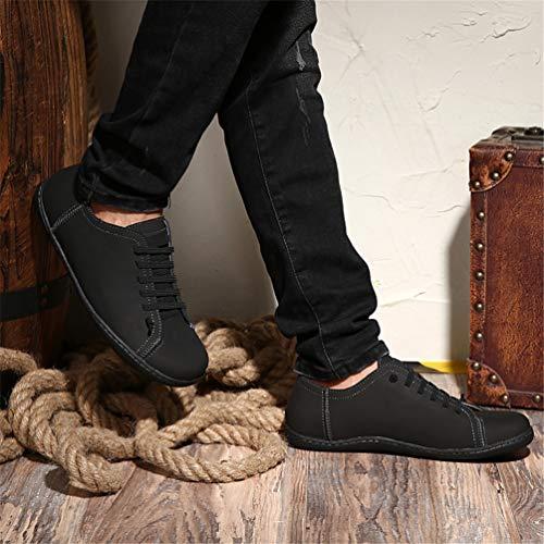 Negro Moda Cuero Alpargatas Slip De Zapatos Artesanales Partido En Pisos Hombre Mocasines xwPq0gqa1