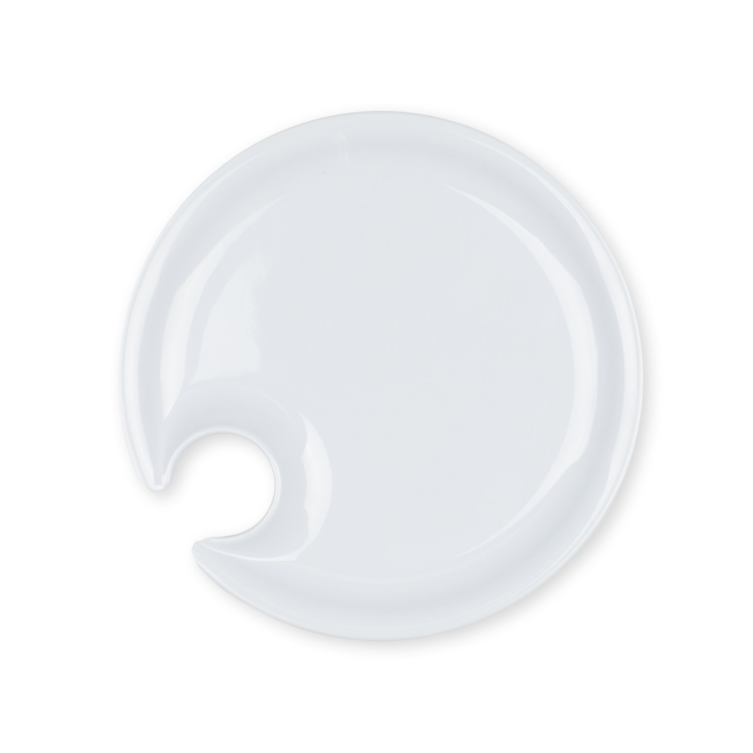 """Set of 4 Round Reusable Appetizer Plates with Glass Holder White Lightweight and Dishwasher Safe Wedding Perfect for Entertaining - Birthday Graduation 7/""""//18cm Bridal Shower or Dinner Party"""