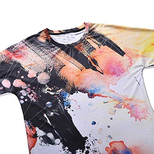 Hülsen Tops T T Stücke T Bunt Shirt Color Tops Shirts Rundhals Männer Hawaiian Shirt Longra Herren beiläufige Shirt Shirt T Bluse Hemd Druck 01 T Design Tees Sommer 3D Multi Kurze pnz5qw7aO