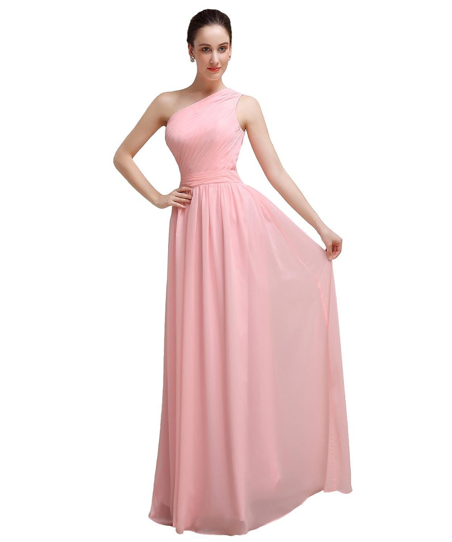 YesDress Junior Popular Best One Shoulder Chiffon Floor-length Pink Bridesmaid Dress