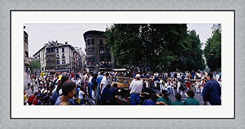 Crowd at Festival of San Fermin, running of the bulls, Pamplona, Navarre, Spain by Panoramic Images Framed Art Print Wall Picture, Flat Silver Frame, 44 x 20 inches by Great Art Now