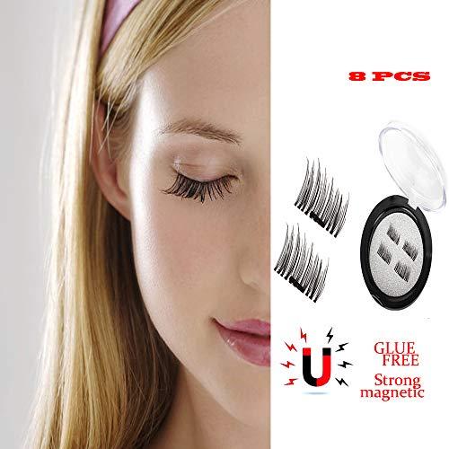 8 PCS Dual Magnetic False Eyelashes 3D Reusable Natural-Looking Eyelash Extensions
