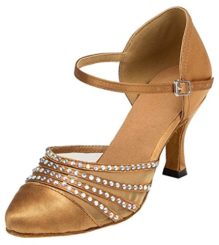 TDA Womens Round Toe High Heel Satin Crystals Latin Modern Salsa Tango Ballroom Wedding Dance Shoes Bronze eBskxum