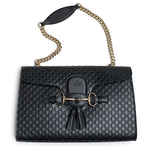 Gucci-Womens-Micro-GG-Guccissima-Leather-Emily-Purse-Handbag-Black