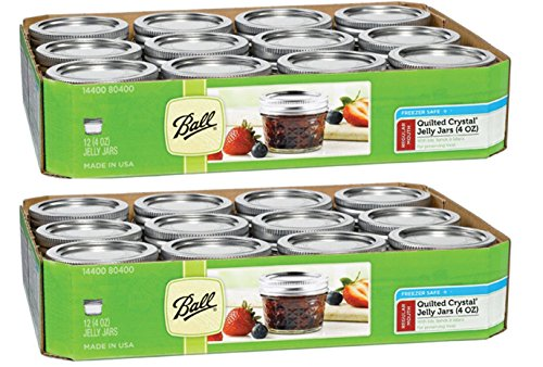 Ball BHBS0519S4645 Tota 4-Ounce Quilted Crystal Jelly Lids and Bands, Set of 12-2 Pack (Total 24 Jars), Clear