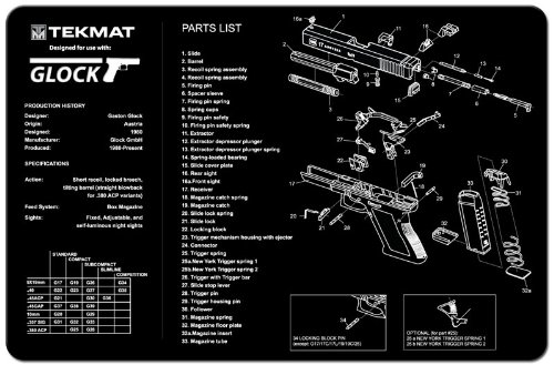 TekMat Glock Gun Cleaning Mat / 11 x 17 Thick, Durable, Waterproof / Handgun Cleaning Mat with Parts Diagram and Instructions / Armorers Bench Mat / - Diagram A Parts Of