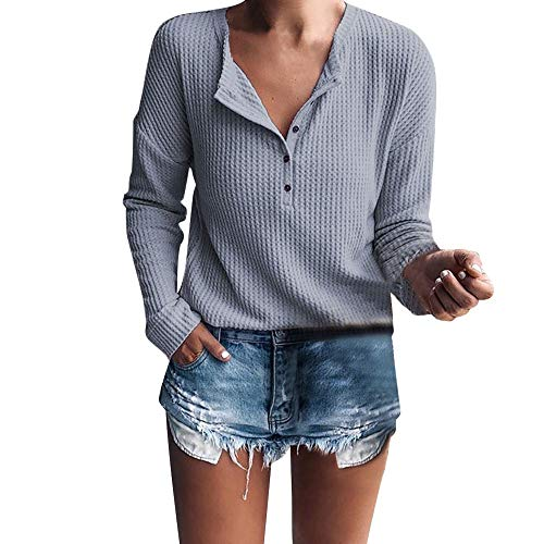 - T-Shirt for Women,Summer Ladies Waffle Knit Tunic Tops Loose Short Sleeve Button Up V Neck Henley Shirts Blouse Tops