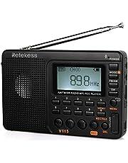 Retekess V115 Radio, Portable AM FM Radio Digital Tuner, Rechargeable Radio Support Recording, Portable MP3 Radio with Bass and TF Socket (Black)
