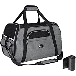 "SONGMICS Foldable Pet Dog Carrier Handbag with Shoulder Strap, for Car, Train and Airplane Travel, Polyester and Tear-Resistant Mesh,Garbage Bag Included, (L(18.9""L x 9.8""W x 13""H), Grey) UPDC51GY"