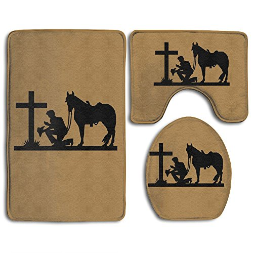 - Cowboy Kneeling At The Cross 3-Piece Set Bathroom Bath Mat Contour Rug And Lid Cover