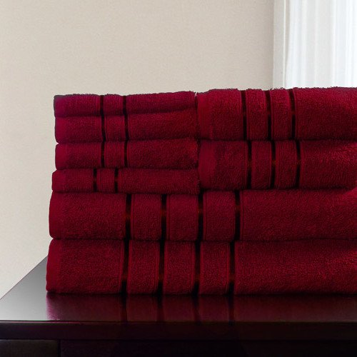 8 Piece Burgandy Solid Color Towel Set With 27 X 57 Inches B