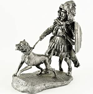 Soldados de estaño. Cartagineses con un perro. Guerra Púnica 2 Edad BC. Escultura de metal, estatua. Colección de 54mm de figuras militares.