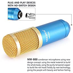 Neewer NW-800 Professional Studio Broadcasting & Recording Microphone Set Including (1)NW-800 Professional Condenser Microphone + (1)Microphone Shock Mount + (1)Ball-type Anti-wind Foam Cap + (1)Microphone Power Cable (Blue)
