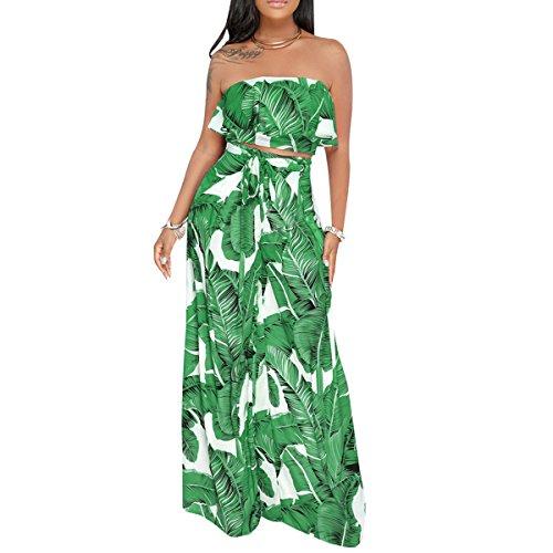 Tropical Print Skirt - Women Sexy Banana Leaf Tropical Print Ruffle Strapless Crop Top High Waist Wide Leg Pant Two Piece Sets
