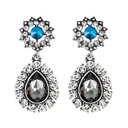 Sapphire Dragonfly Earrings (Yeefant 1 Pair Teardrop Shaped Diamond Encrusted Love Heart Jewelry Earrings for Woman,Gray)