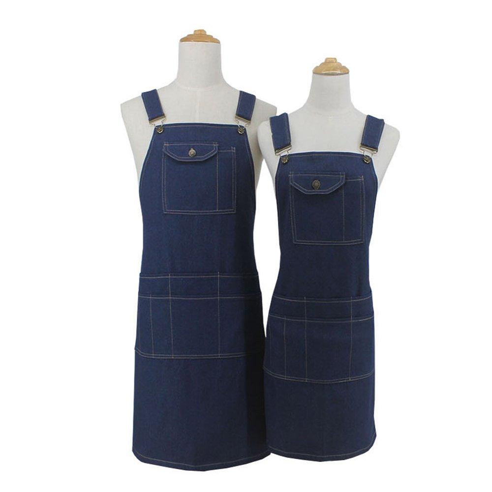 Craftsman Jeans Work Apron with Tool Pockets, Jeans Denim Workshop Welders Aprons for Men and Women, Professional Adjustable Waist Straps Aprons for Kitchen Pottery Craft Workshop Garage Garden