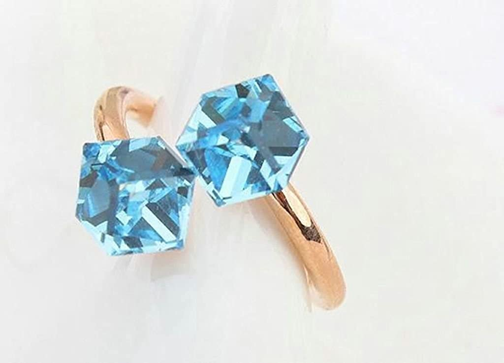 Womens Two Square Cube Blue Cubic Zirconia Elegant Royal Crystal Wedding Ring Epinki Gold Plated Ring