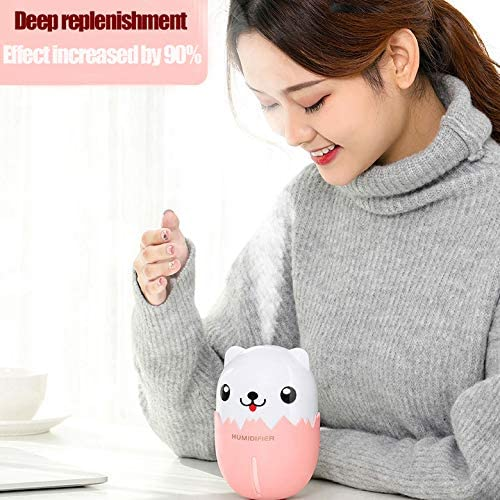Pink etore humidifer for Bedside workspace Desk,Automatic Humidity Keeping,Breathing lamp,USB Power Supply,External USB Port for USB Fan Night, a