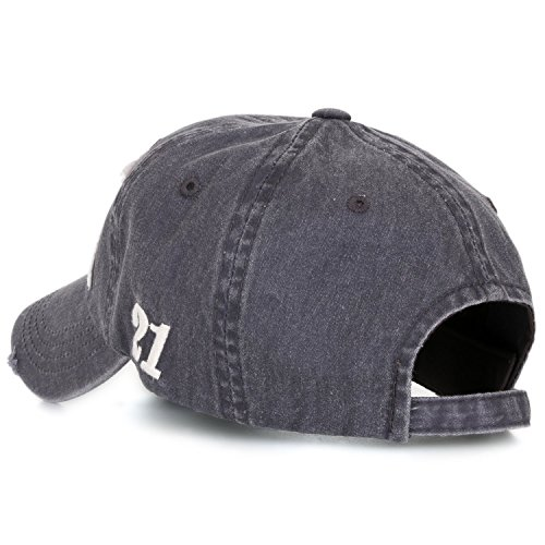Ililily Washed Denim Fitted Casual Rookies Patch Precurved