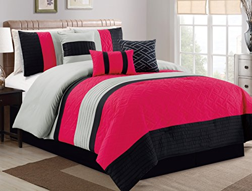 5b12a7a606 Modern 7 Piece Bedding Pink, Black, Grey Pin Tuck QUEEN Comforter Set with  accent pillows - Buy Online in UAE.   Home Garden Products in the UAE - See  ...