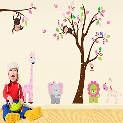Large Jungle Animals Monkey Lion Elephant Owls Tree Removable Wall Stickers Wall Decor Home Decor Wall Art Kids Room Bedroom Decor Living Room Decor Sofa TV Background DIY Art Decals