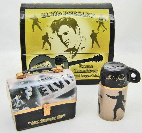 Elvis Presley Dome Lunch Box Shaped Salt Pepper Shakers by Vandor Lyon Company - Elvis Presley Dome