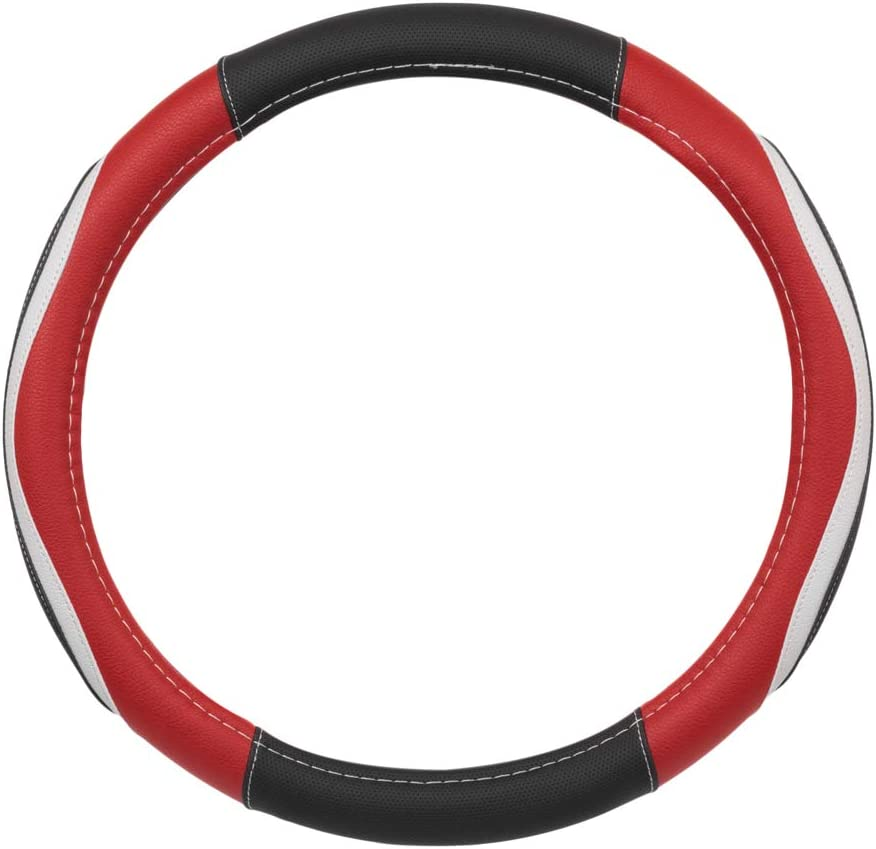 BDK CarXS GripTech Mach Five Steering Wheel Cover Padded Anti-Slip Protector with Racer-Inspired Style for Men Universal Fit for Standard Wheel Sizes 14.5 15 15.5 inches Red