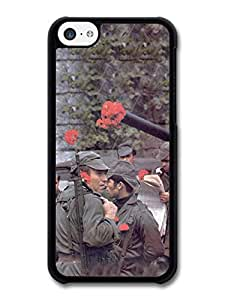 MMZ DIY PHONE CASEVintage Retro Photo of Soldiers with Flowers in their Guns Portuguese Fashion Style case for ipod touch 5