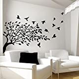 Tree Wall Decals Bird Decal Vinyl Sticker for Kitchen Window Nursery Bedroom Room Home Decor Art Murals Ah90