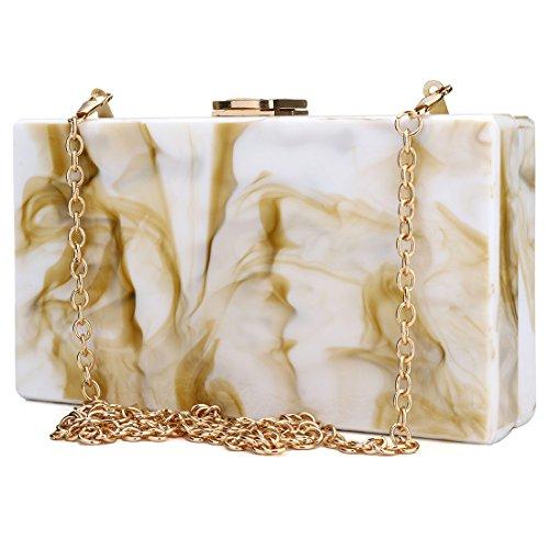 Color EROUGE Desiger Marble Coffee Acrylic Pattern Purse Clutchs Women Bag Evening Bags Girl's Handbags Fashion Clutch rqPrznZf