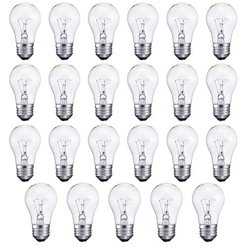 - 40-Watt Appliance Bulb, Appliance Light Bulb 40w A15, 120v 40w Refrigerator Bulb Clear Ceiling Fan Bulbs Medium (E26) Standard Household Base Crystal Clear, 24Packs