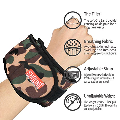 SHOUNg Personalised Ankle Weights / Wrist Weights with Adjustable Select Multifunction (Camouflage Print, 5lbs)