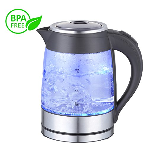 Mega Chef MGKTL-1752 Glass and Stainless Steel Electric Tea Kettle, 1.8 L