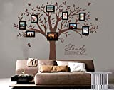 LUCKKYY Grant Family Tree Wall Decal with Family Like Branches on a Tree Wall Decal Sticker Quote Living Room Decor(83'' wide x 83'' high ) (Brown)