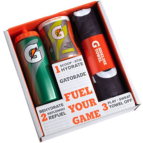 Energy Gift Set - Gatorade Gift Set with Squeeze Bottle, Sport Towel, and Thirst Quencher Powder