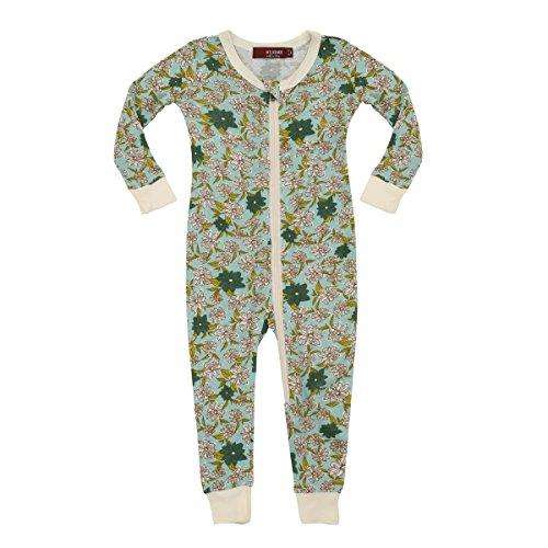 MilkBarn Bamboo Zipper Pajama - Blue Floral (12-18 Month)